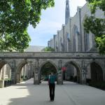 Li at a very nice archway on campus