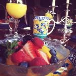 Fresh fruit dish in the beautiful dining room!