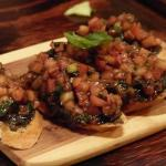 tomato and basil bruschetta  with olive tapenade on crostini