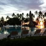 Pool area Dreams La Romana at sunset