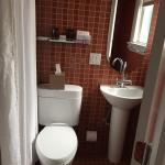 Bathroom was small but clean shower and tub with rainfall shower head and good toiletries