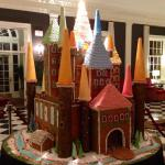Gingerbread castle in the foyer of the Dearborn Inn.