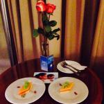 Evening fruit snack and roses left in our room. Club level room #1655.