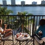 Balcony view in the morning overlooking Lake Boca Raton and the ocean