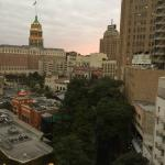 View of downtown San Antonio and the riverwalk from my room.
