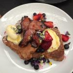 French toast with candied bacon, marscapone, strawberries and blueberries!