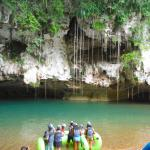 Where you put in for the cave tubing. (River is flowing to right, so you'll enter just out of ph