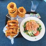 Andria's Fish and Chips, Famous Onion Rings and a Grilled Salmon Salad