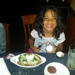 the little one created has her own dish...backed potatoe topped with sauté spinach