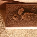turtle photo on wood block purchased from motel