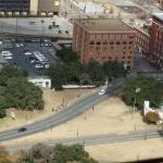 The grassy noll and the book depository from the reunion tower