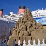 A view of the Sand Castle, and the Queen Mary beyond.
