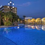 Outdoor panorama thermal swimming pool by night