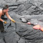 Roasting a marshmallow over the lava!