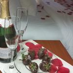 they left us chocolate covered strawberries and sparkling wine on our wedding day!