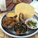 Curry and roti platter