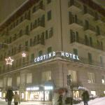 The hotel by night.