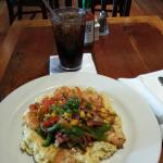 Shrimp and grits with soda