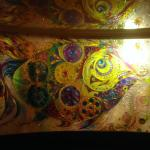An incredible glass painting in the Restaurant