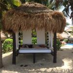 Comfy, shaded beach beds (casita side).