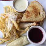 Turkey and Brie sandwich with truffle fries. yummy! (This is half the order)