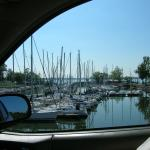 The view driving into the marina