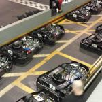 Karts lined up in the pit