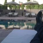 Relaxing by the pool