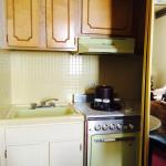 The kitchenette also had a fridge.  Loved the non-working stove/oven for the quaint feel!