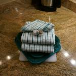 cute towel setup in kitchen