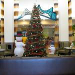 Tastefully decorated lobby for Christmas