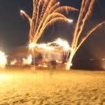 Fireworks while dining at the beach