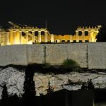 Parthenon as seen from the rooftop terrace at night