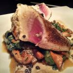 Tuna Au Poivre, Sauteed Spinach and Chanterelle Mushrooms with a Brandy Peppercorn Sauce