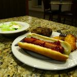 Free evening snack, baked potato, salad, chicken strips, hot dog