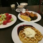 Breakfast - great waffles, rest just average. Sad cheap and gloomy atmosphere.