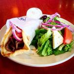 Lunch gyro with small Greek salad instead of fries.