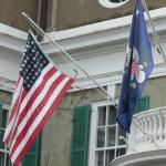 Flags in front of FDR Home