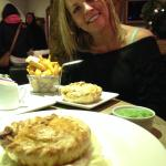festive xmas pie with rustic chips and salad