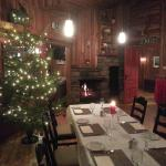 Restaurant decorated for Christmas