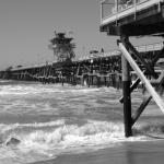 San Clemente Pier, in black and white