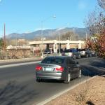 View from the parking lot toward the mountains
