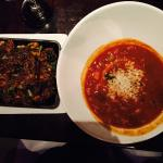 """Awesome """"Yesterday's Soup"""" and warm quinoa sweet potato salad."""