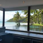 looking through bar area to infinity pool