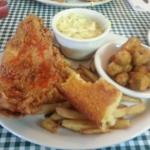 Southern Fried Catfish, Dumplings, Okra, Cornbread
