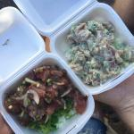 Maui sweet onion poke with seaweed salad and wasabi poke over rice
