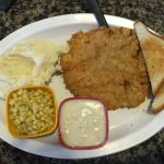 Crispy Country Fried Steak, Home-made Mashed Potatoes, Cream Gravy, Sweet Corn, & Texas Toast