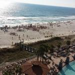 View of the beach from the condo balcony