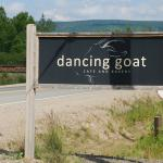The Dancing Goat sign at the side of the road.
