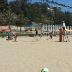 Pro beach volleyballers playing at the Beach House